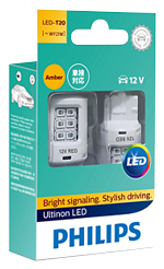 Светодиодные лампы Лампа Philips LED T20 (WY21W) Ultinon Amber 12V W3Xx16d and SmartCANbus 11065ULAX2