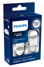 Светодиодные лампы Лампа Philips LED W21W X-tremeUltinon gen2 White 12/24V W3x16d 11065XUWX2