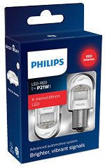 Светодиодные лампы Лампа Philips LED P21W X-tremeUltinon gen2 Red 12/24V BA15s 11498XURX2
